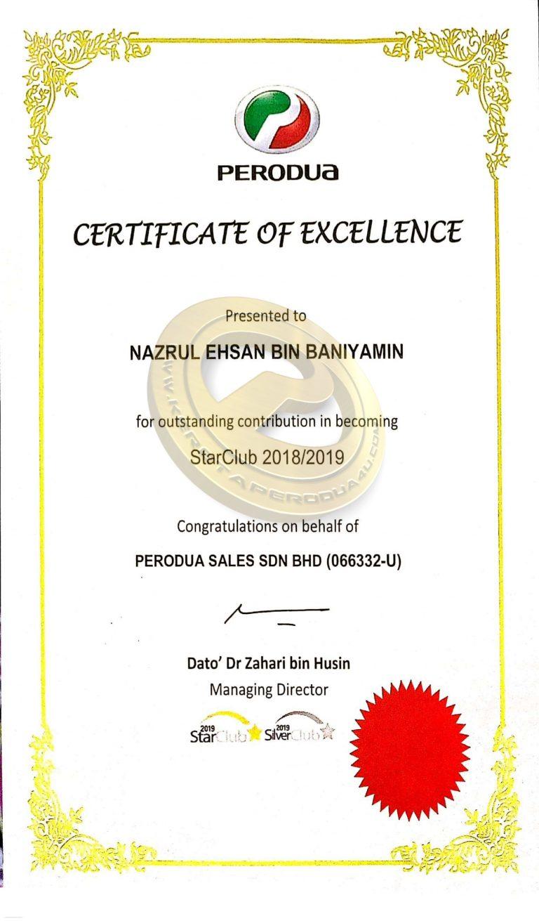 sijil starclub perodua